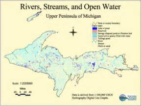 rivers and streams map hydrography of michigan s peninsula