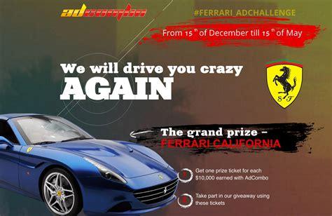 Win A Ferrari by Make Money And Win A Ferrari California With Adcombo