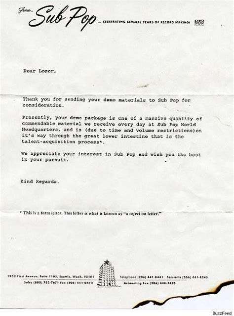 Rejection Letter Journal Sle 7 Best Rejection Letters Of All Time