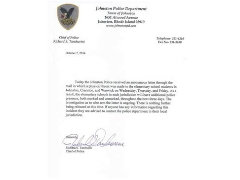 College Letter Of Attendance School Attendance Due To Letter Threat Cranston Ri Patch