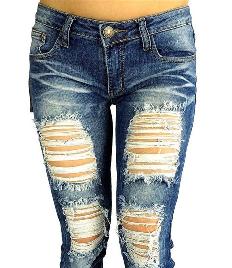 Celana Ripped Blue Washed cutout destroyed ripped distressed slim