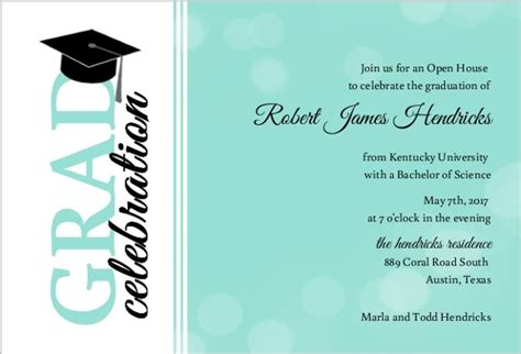 graduation cap invitation kit 5 5 quot x8 5 quot set 24 49664 turquoise bubbles graduation party invitation graduation