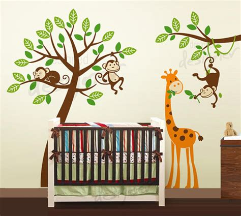 jungle tree  monkeys  giraffe wall decal wall