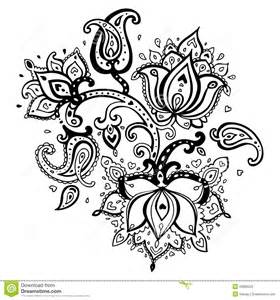 Lotus Flower Doodle Paisley Ornament Royalty Free Stock Images
