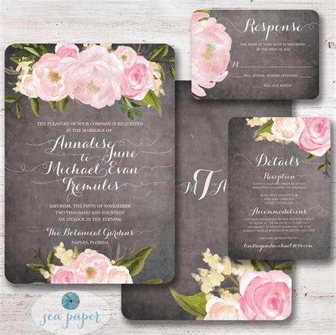 chalkboard peony rose floral wedding invitation rustic