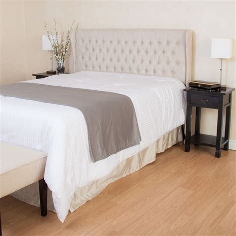 headboard full bed queen full size bed wingback beige fabric headboard w