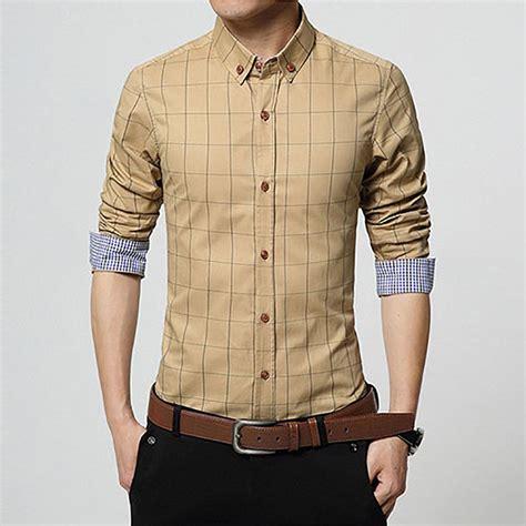 Plaid Casual Shirt luxury mens fashion dress shirts plaid sleeve casual