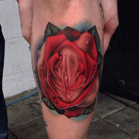 vaginal tattoos realistic and on the left shin