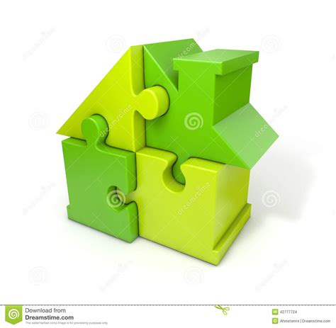 Puzzle House puzzle house green stock illustration image 42777724