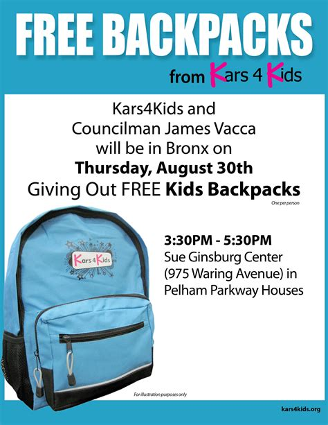 Free Giveaways Nyc - kars4kids partners with nyc councilman james vacca for back to school backpack giveaway