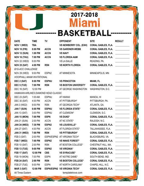 printable unc basketball schedule 2017 18 printable 2017 2018 miami hurricanes basketball schedule