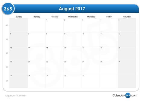 What S A Calendar August 2017 Calendar