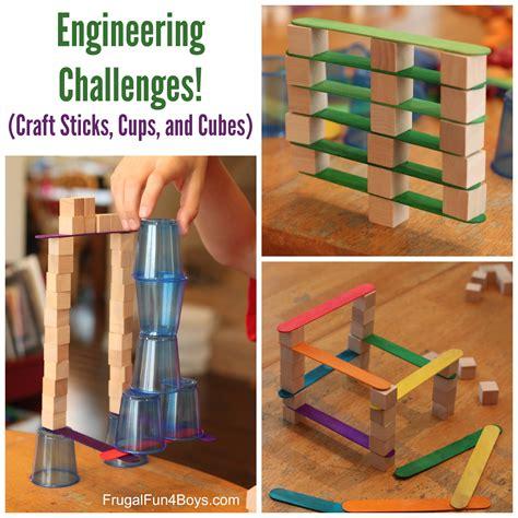 engineering challenges  kids cups craft sticks  cubes