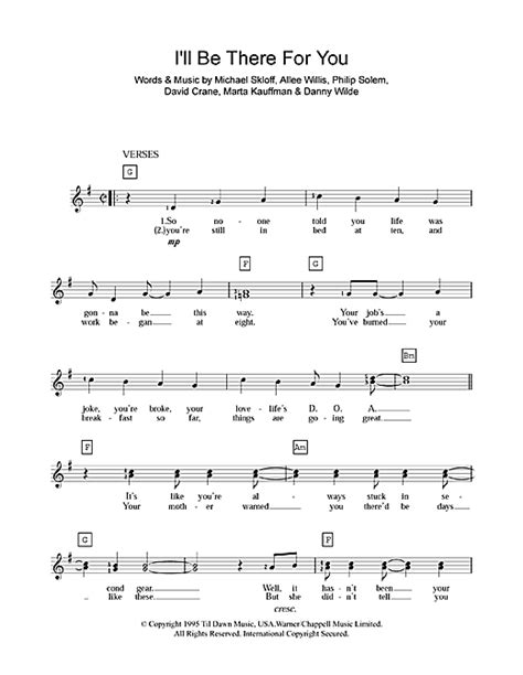 theme music in theri i ll be there for you theme from friends sheet music by