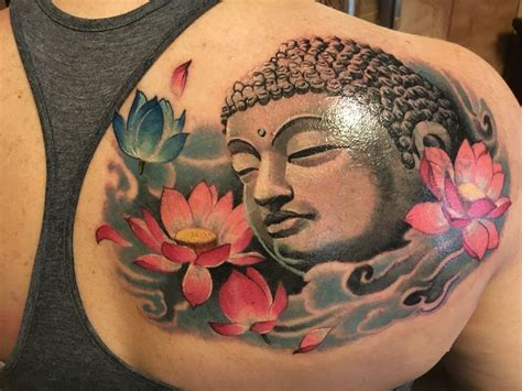 lubbock tattoo buddha and lotus by mike at big buddha