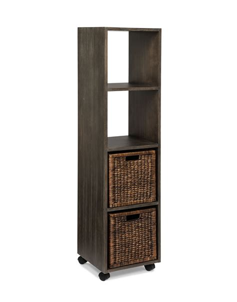 rolling bookcase tower with baskets arason enterprises