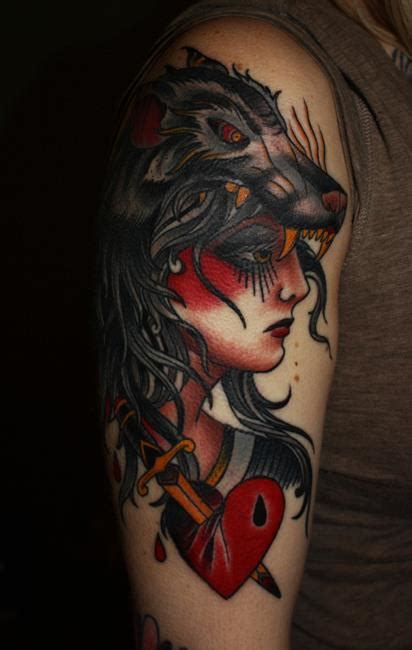 tattoo gypsy girl meaning gipsy lady with wolve head ornament arm tattoo tattoomagz