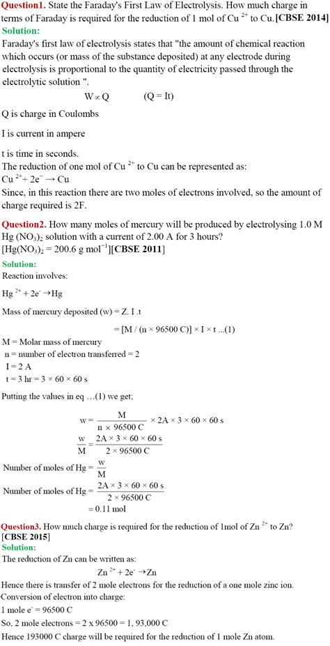electrochemistry tutorial questions cbse class 12th chemistry notes electrochemistry part