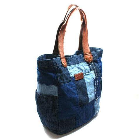 Patchwork Tote Bag - lucky brand or shine patchwork denim tote bag