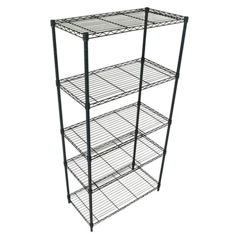 adjustable 5 tier wire shelving unit black room