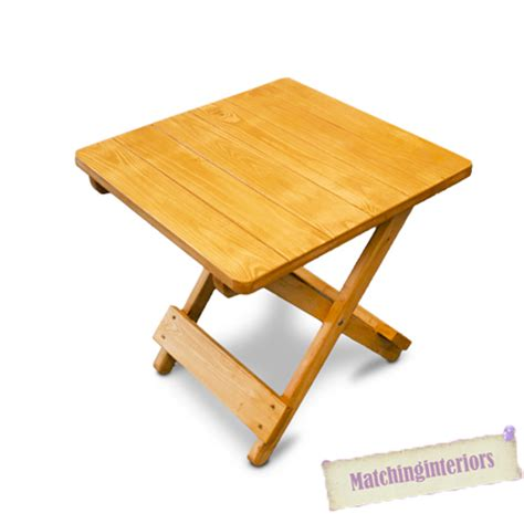 Small Folding Wooden Table Oak Colour Wooden Side Folding Picnic Cing Table Small Garden Patio Furniture Ebay