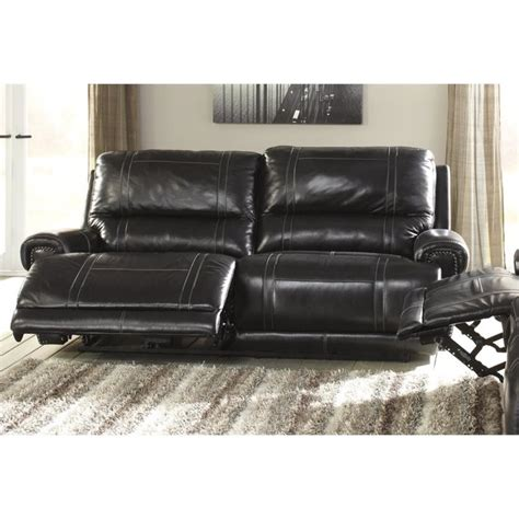 Ashley Paron Leather 2 Seat Reclining Sofa In Antique 2 Seat Leather Reclining Sofa
