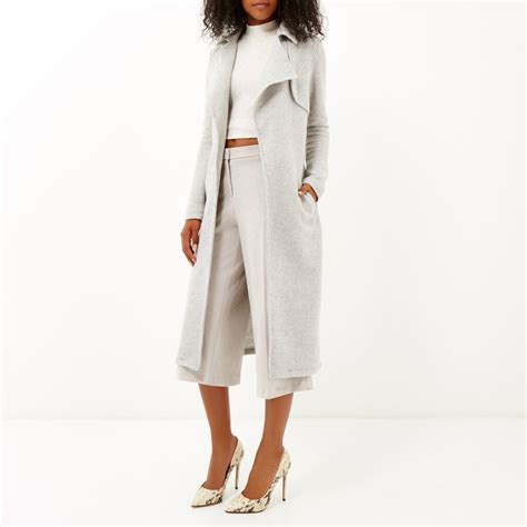 light grey long coat river island light grey longline trench coat in gray lyst