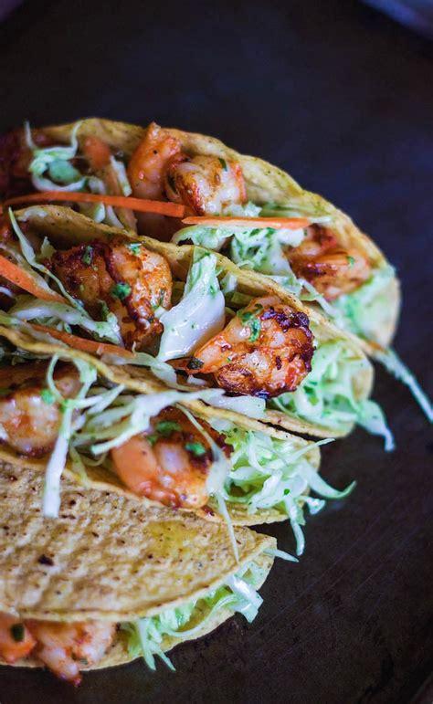 easy shrimp tacos  cilantro garlic mayo  minute