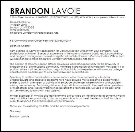 communications cover letter communication officer cover