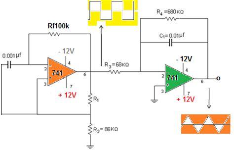 triangular wave generator using op 741 circuit diagram