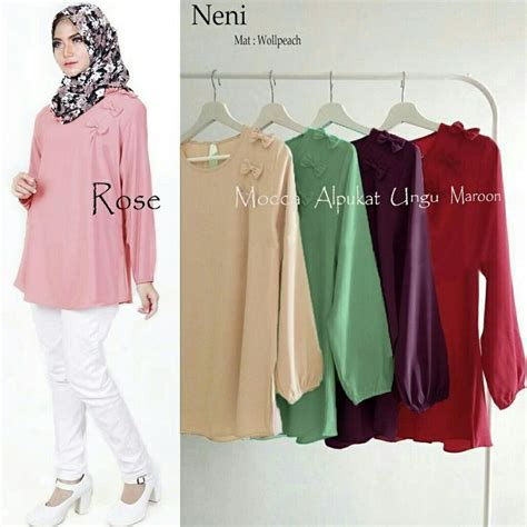 Baju Atasan Wanita Terbaru Blus Muslim Garcia Top Tunik 17 best images about baju muslim on models polos and satin