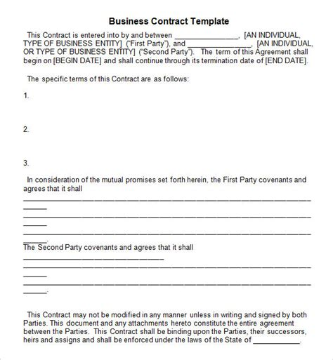 business contract template free business contract template 7 free pdf doc