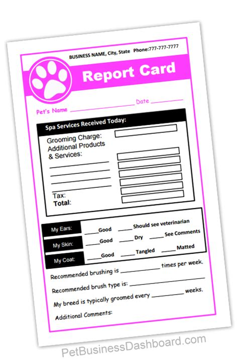 Pet Boarding Report Card Template by Grooming Receipt Report Cards In 1 Printable And