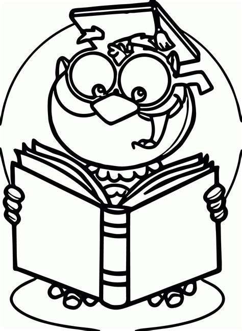 owl reading coloring page read a book coloring page coloring home