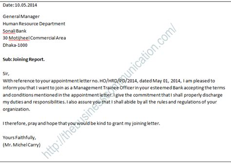 Duty Report Letter After Leave what is joining letter specimen of joining letter