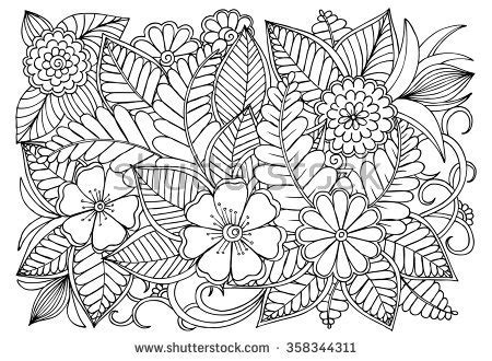 zentangle floral doodles black white coloring stock vector