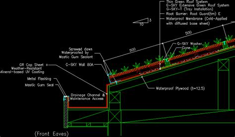 green roof section dwg slope of the green roof detail of the eaves dwg detail
