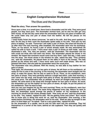 Worksheet of Comprehension 'The Elves and the Shoemaker