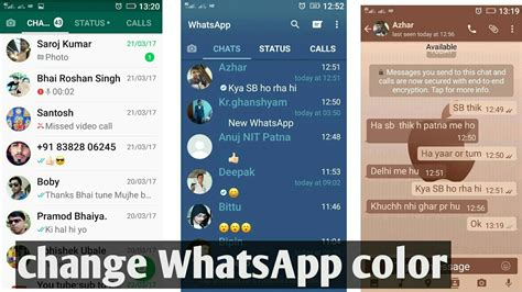colour themes for whatsapp whatsapp trick change whatsapp color or theme youtube