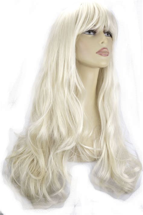 platinum blonde hair over 60 22 quot ladies beautiful full wig long hair piece wavy