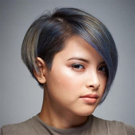 Asymmetrical Bob With Bangs For Round Faces   www.pixshark