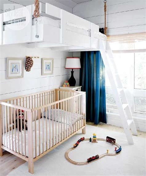 High Hopes A Loft Suspended Over A Crib Is A Space Saver Space Saver Cribs For Babies