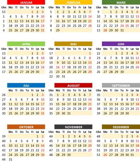 Utskrift Kalender 2016 Ukekalender Ukekalender 2016
