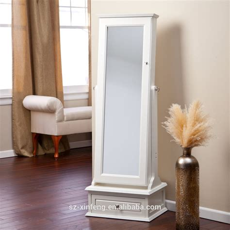 Length Mirror With Drawer by Transitional Cheval Mirror Locking Jewelry Armoire With