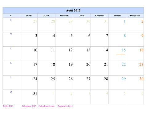 Calendrier Aout 2015 Calendrier Ao 251 T 2015