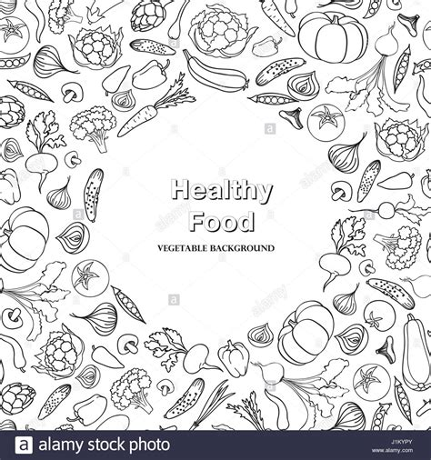 food doodle vegetable background healthy food frame decor food