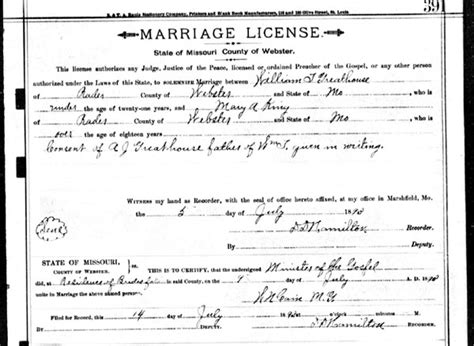 Missouri Marriage License Records Michael Greathouse William Greathouse