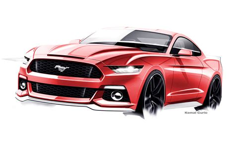 mustang designs newly revealed sketches show origins of the 2015 mustang s