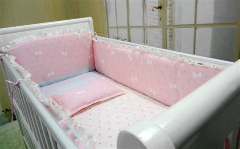Baby Pink Cot Bedding Sets Promotion 6pcs Pink Baby Crib Bedding Set Newborn Cot Bed Sets Baby Bumper For Infant Bumper