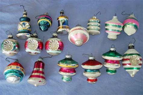 vintage christmas tree glass ornament lot shiny bright